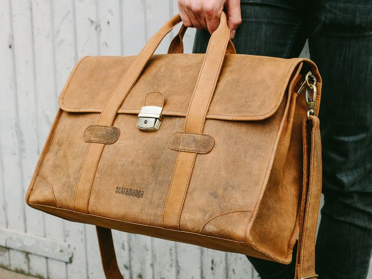 The Carter Leather Briefcase from Scramanga's extensive range of leather travel bags. Get him a gift he'll actually use this Christmas. #giftsformen