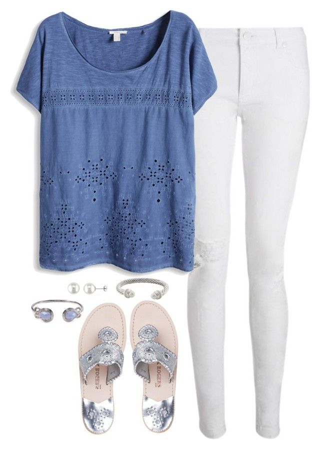 """silver & blue"" by marycoulbourn ❤ liked on Polyvore featuring moda, Jack Rogers, David Yurman, Kendra Scott, Whistles, Amour, women's clothing, women's fashion, women y female"