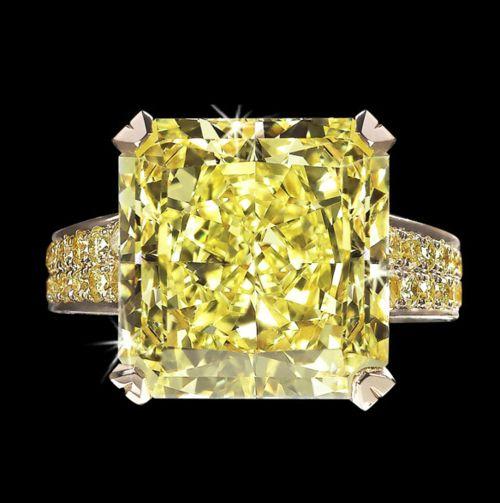David Morris ring fancy diamond asschercut white yellow intense vivid high jewellery