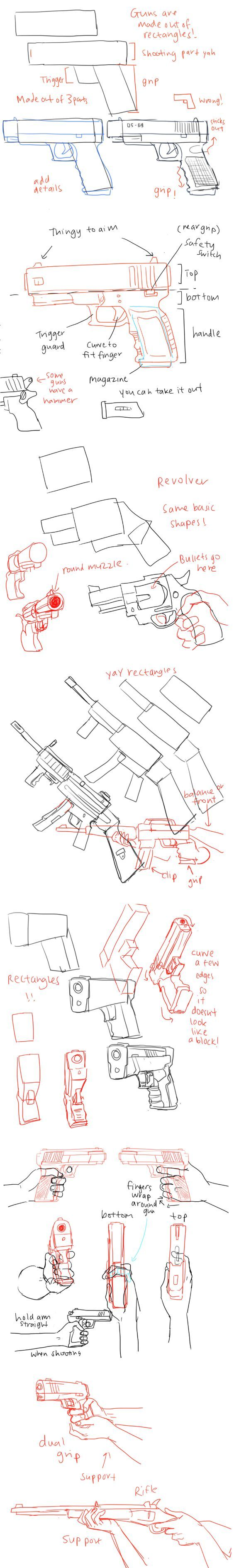 How to draw guns and it's perspective~: