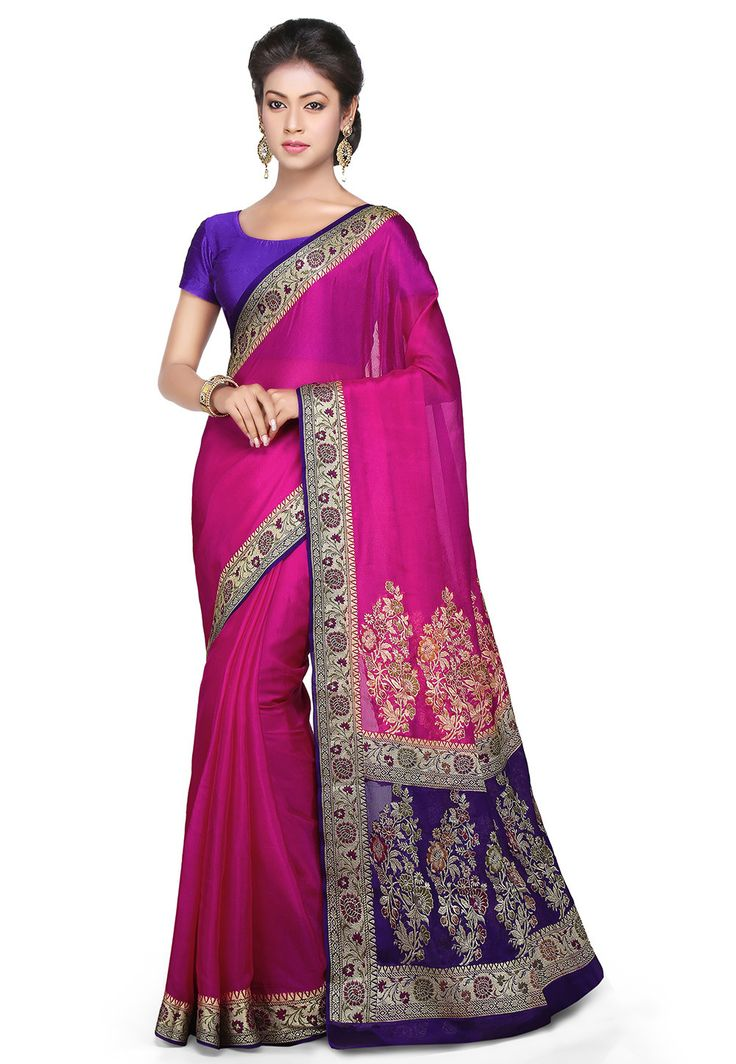 Woven Pure Georgette Saree in Fuchsia : SHR415
