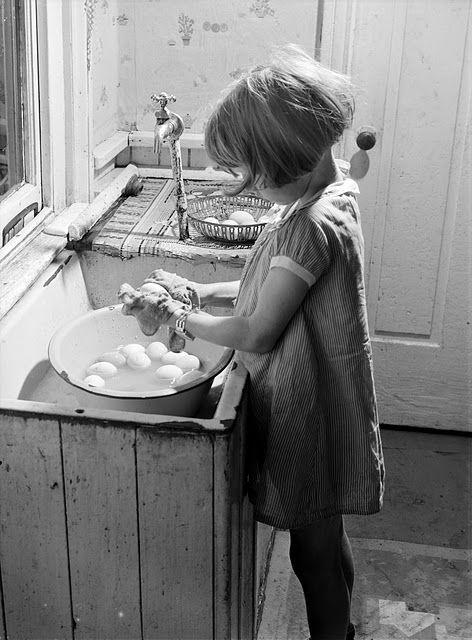 washing eggs. 1940