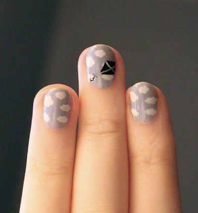 """""""go fly a kite"""" nails  hahaha Clouds Nails, Nails Art, Cute Nails, Nailart, Nails Design, Kite Nails, Pretty Nails, Beautiful, Polish"""