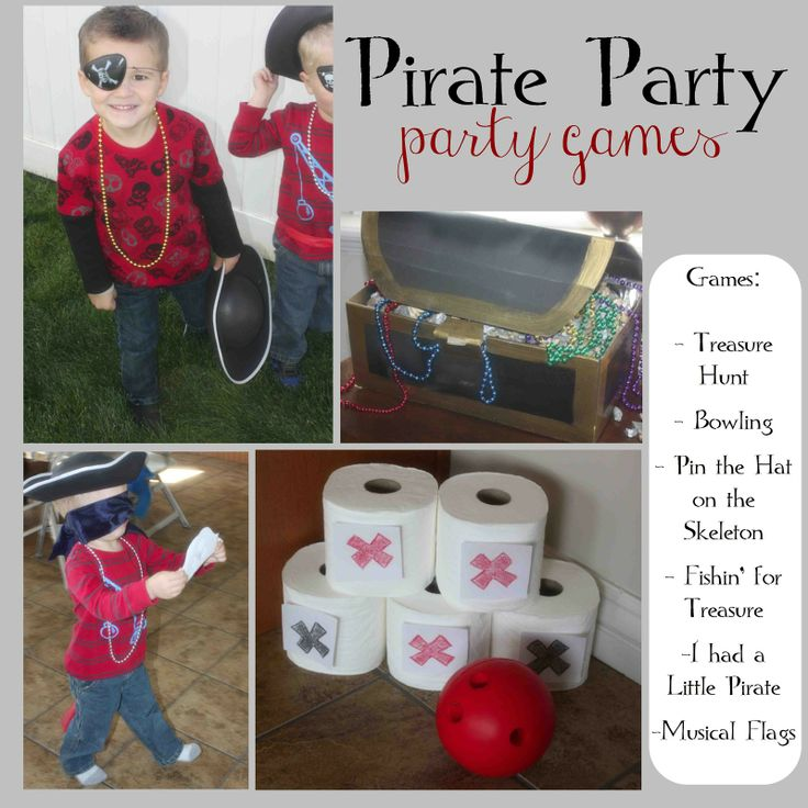 just Sweet and Simple: Kids Pirate Party  Games I have a mickey mouse bowling game, I can print pirate printables to put on them and use them for the party.