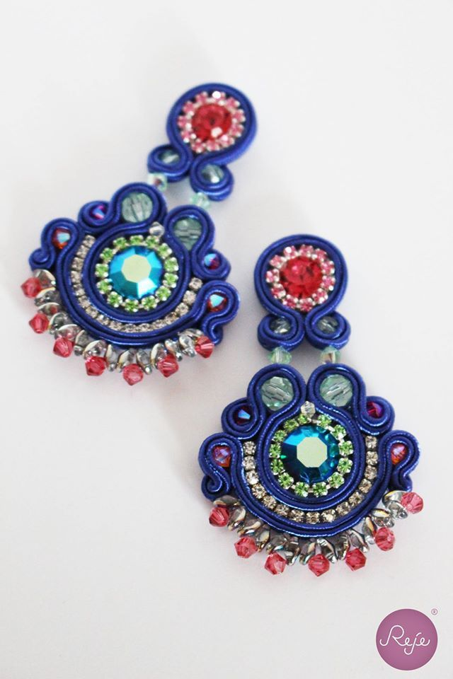 Blue crystals, soutache earrings, Reje creations 100% handmade in Italy