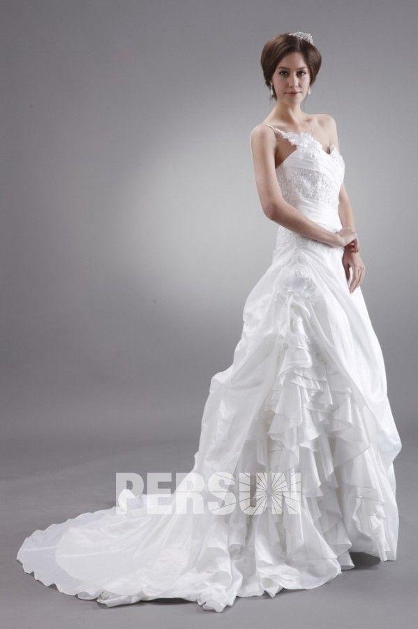#Taffettà #A #Linea #Monospalla Bellissimo Fiore #Vestito Da #Sposa - Persunit.com