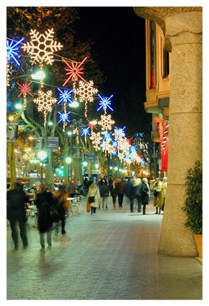 Christmas in Barcelona - Las Ramblas was alight with christmas lights while we were there :)