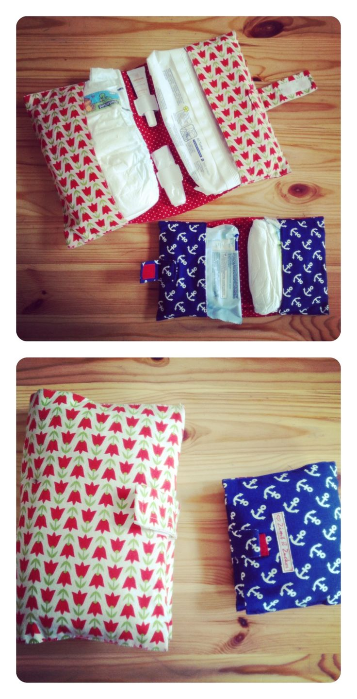Diaper cases for short and long excursions. Made my messy bag much more tidy. Thank you Schnabelina! Tutorial in link below.