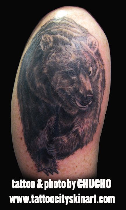 Black and Grey Bear tattoo. Tattoo by Chucho. Tattoo City, Lockport, IL #tattoo #Lockport
