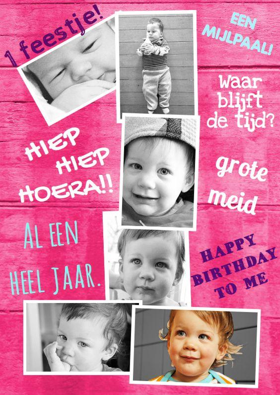 Hippe collage uitnodiging voor een meisje van 1! Originele foto kaart voor foto's van een heel jaar. Hip, lief en grappig met leuke eigen tekst.