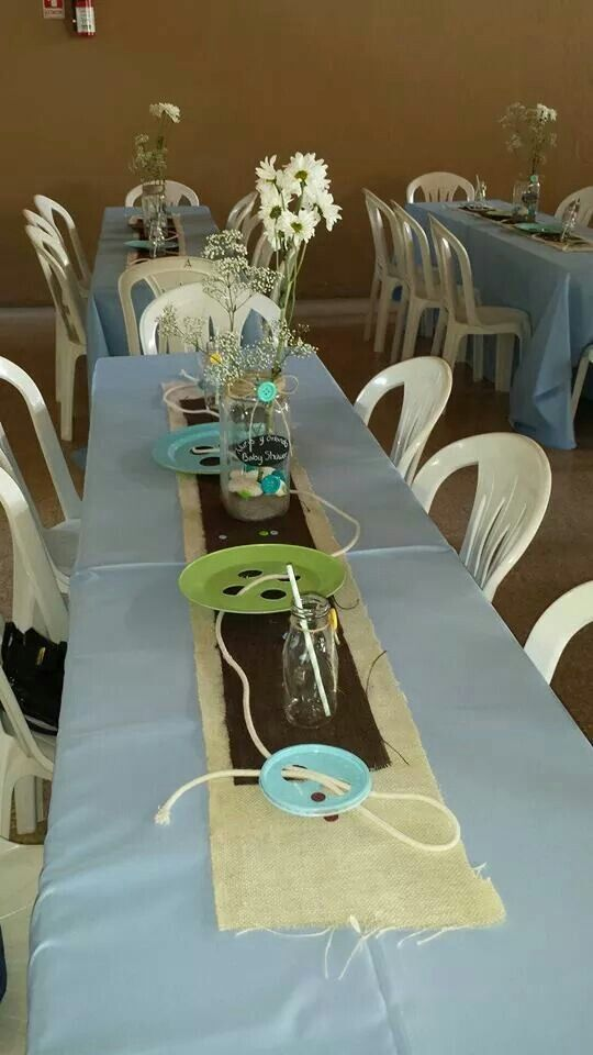 Cute as a button baby shower, table centerpieces