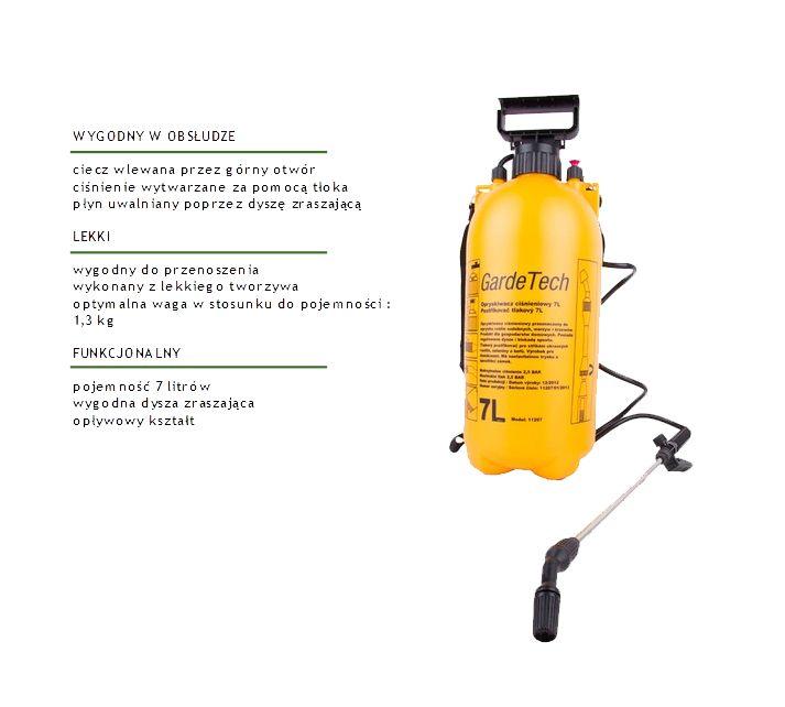 Bardzo poręczny, lekki oraz wydajny opryskiwacz ciśnieniowy z lanca umożliwiającą oprysk roślin, krzewów i niskich drzew. Do użytku domowego jak i ogrodowego. Ciecz wlewana jest przez górny otwór, który jest szczelnie zamykany, co umożliwia utrzymanie odpowiedniego ciśnienia w zbiorniku. Ciśnienie wytwarzane jest za pomocą ruchów tłoka. Ciecz uwalniana jest poprzez dyszę zraszającą (lancę).