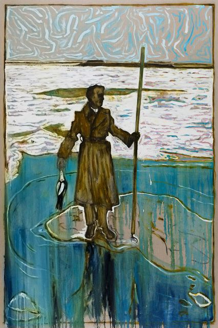 Billy Childish, man stood on ice holding a dead duck (Off Hoo Ness, River Medway 1963)(version z) (2012), via Artsy.net