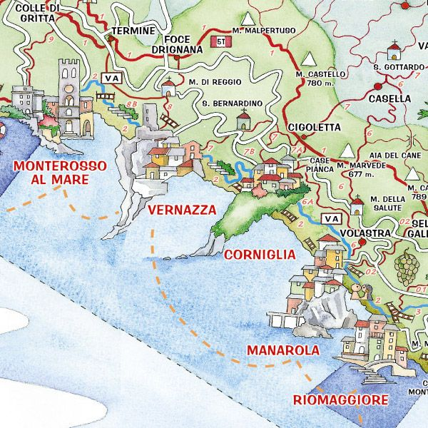 Map of the Cinque Terre - 5 towns.. starting with Monterossa al Mare,  Vernazza, Corniglia, Manarola, Riomaggiore