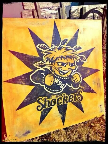 Absolute Vintage Boutique: Handpainted Signs-GO SHOX WSU Shockers!!  7722 W. Maple Wichita, KS 67209