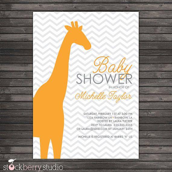 Chevron Orange Giraffe Baby Shower Printable by stockberrystudio, $10.00