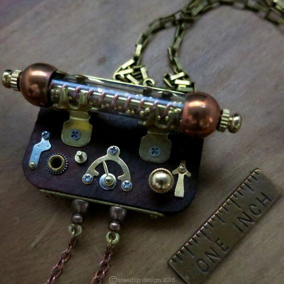 Joyas Steampunk colgante mecánico vial panel de por steelhipdesign