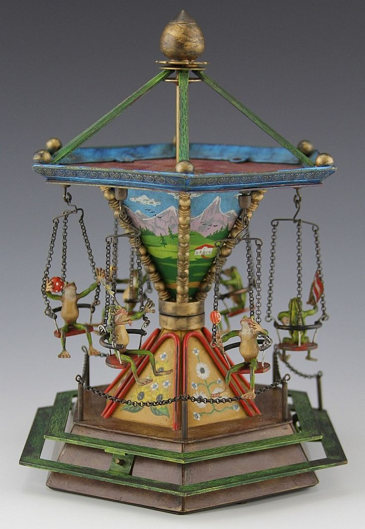BERGMAN BRONZE COLD-PAINTED MUSICAL FROG CAROUSEL - Manor Auctions | AuctionZip Estimated: $4,500-6,000