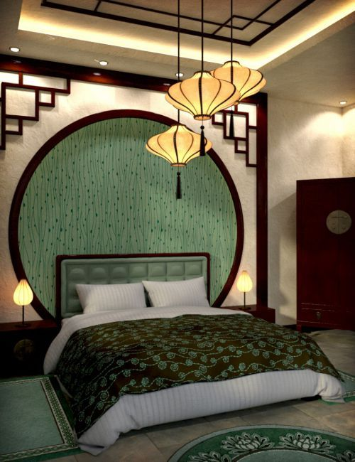 Modern Chinese Bedroom. Love the idea of the dark crown molding and the accents on the corners of the walls