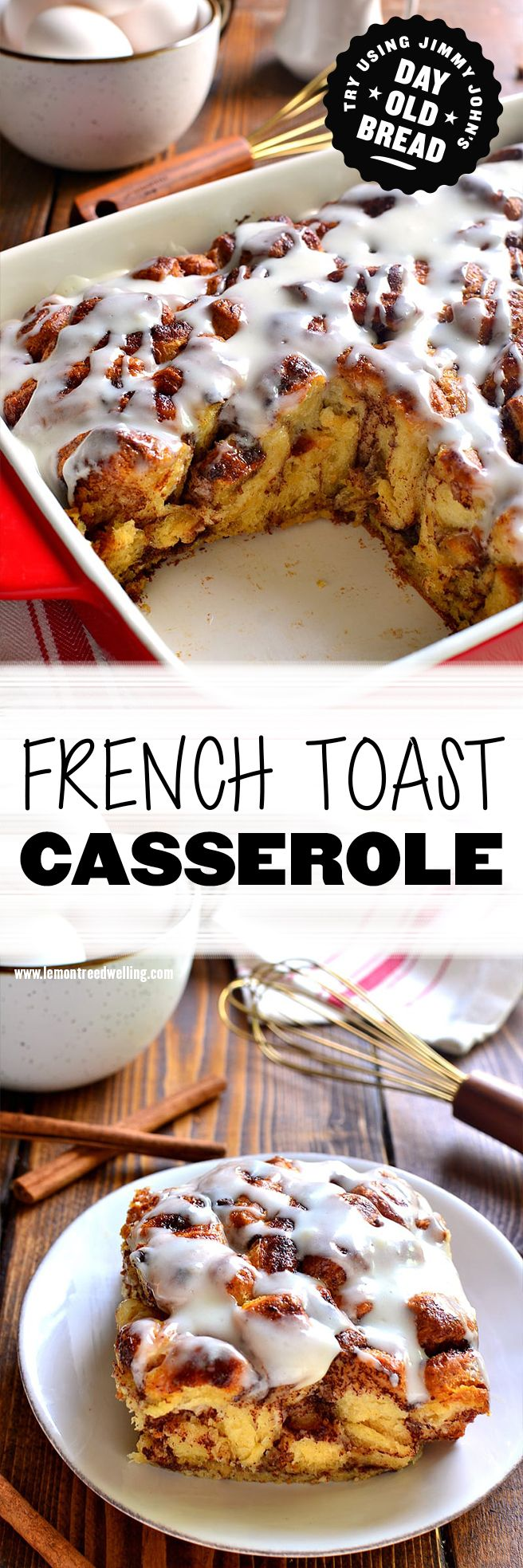 French Toast Casserole! Try making with Jimmy John's bread and lots of cinnamon. Oey, gooey, delicious casserole for the whole family