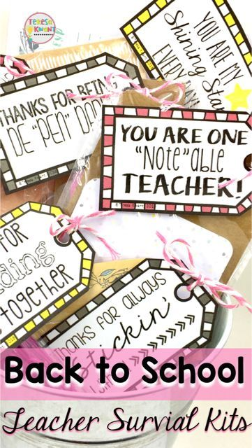 These survival kits are perfect for teacher gifts on teacher appreciation day, or for the first day back at school. There are also student survival packs for back to school. Get your teacher all geared up for the school year!