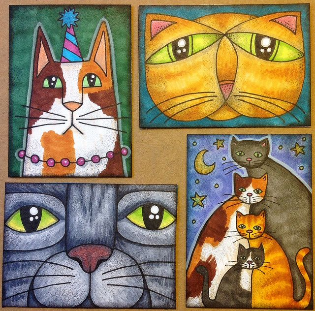 Whimsical Cat ATCs por GwennieJo