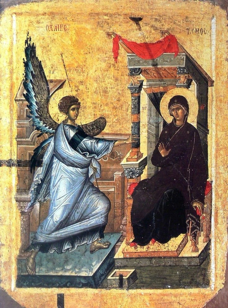 Annunciaton, anonymous, 14th-century, National Museum, Ohrid