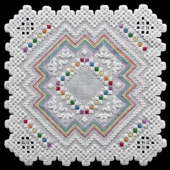 The Rainbow Delights pattern brings us some most adorable eye candy! As the name implies, all the colors of the rainbow are included in this cute little doily. This would be the perfect gift for someone you love or even a perfect decoration for your little one's room!