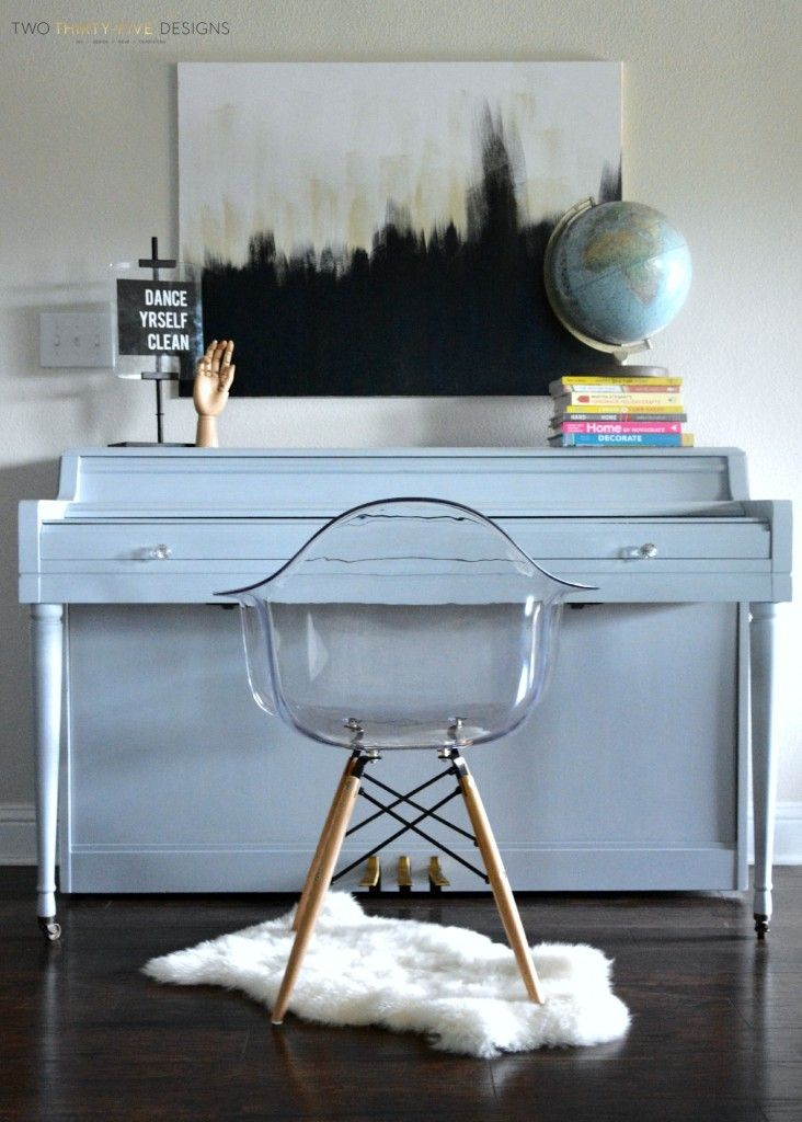 She tried Chalk paint for the 1st time.... on her PIANO! Awesome! Chalk Painted Piano - Two Thirty-Five Designs