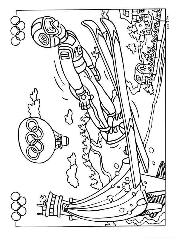 Skiing Coloring Page: Winter Olympics Crafts for Kids. #StayCurious