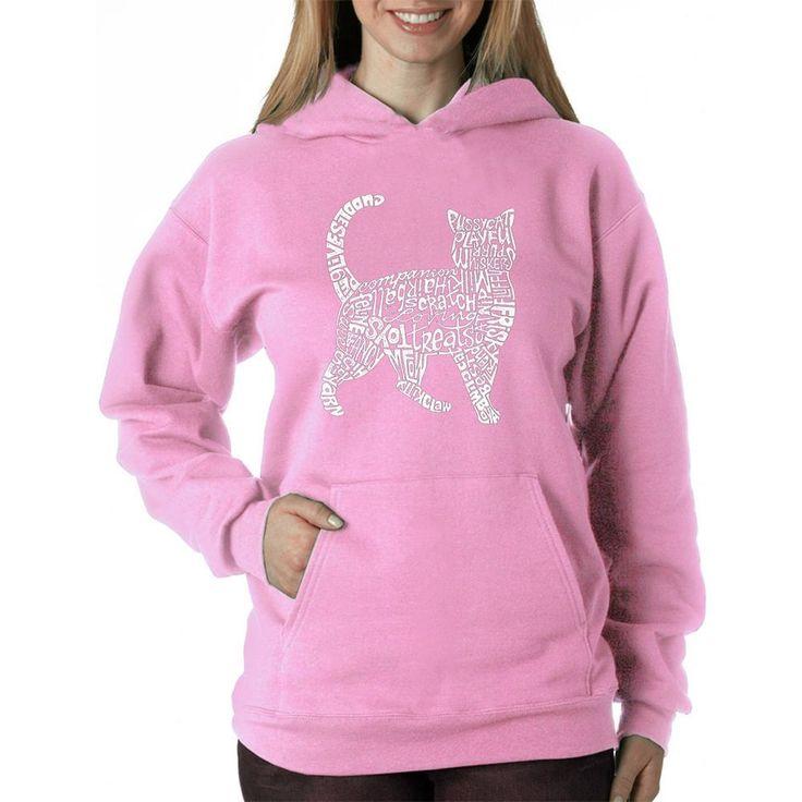 Hooded Sweatshirt Hoodie Womens Cat Print Clothes Shirt Sweats Apparel Sweater #LosAngelesPopArt #Hoodie