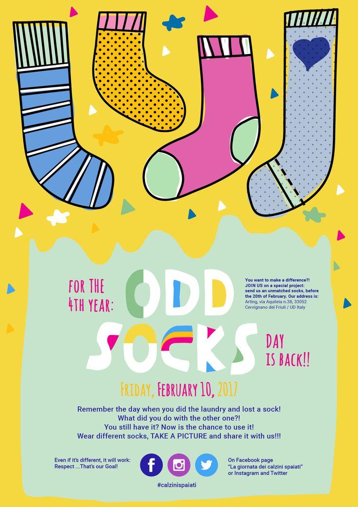 New invite for ODD SOCKS DAY  🔴🔸⭐️🔺🔶🔹⭐️ 🔵🔻🔸🔷  La Giornata dei Calzini Spaiati Friday, February 10, 2017  Wear different socks, TAKE A PICTURE and share it with us!!! 🔴🔸⭐️🔺🔶🔹⭐️ 🔵🔻🔸🔷