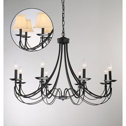 @Overstock.com - Iron 8-light Black Chandelier - This classic black iron chandelier features a rustic, hardy design that will last a lifetime. The eight champagne colored shades diffuse light so your dining room or other room will have a soft, elegant glow accented by deep, black iron.  http://www.overstock.com/Home-Garden/Iron-8-light-Black-Chandelier/3285729/product.html?CID=214117 $182.69