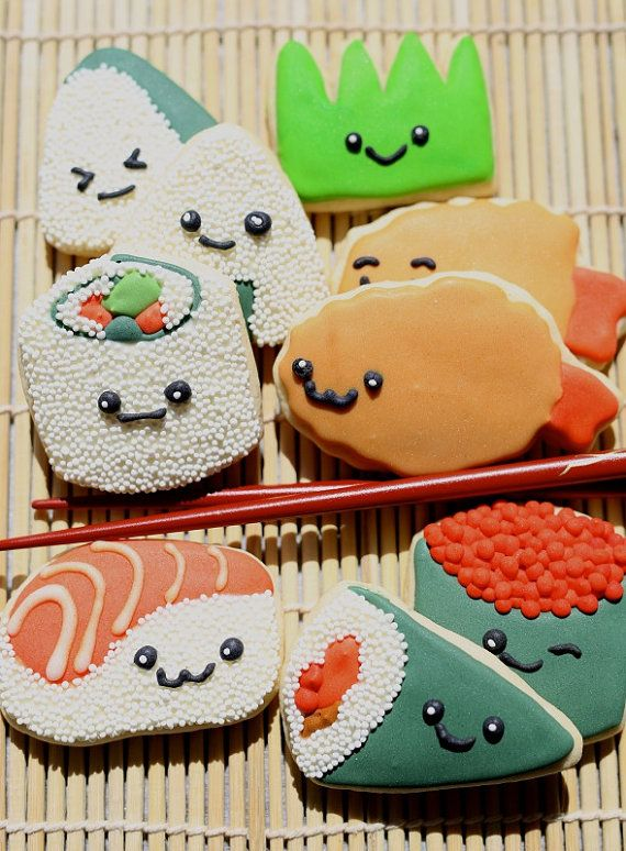Kawaii Super Cute Sushi Time Sugar Cookies