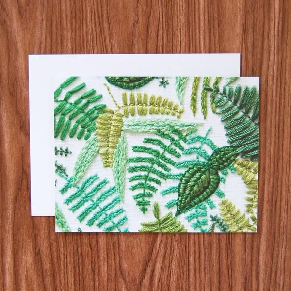 This product marries two of my favorite things: hand embroidery and the handwritten note. A high resolution photo of my hand embroidered ferns on white linen has been reproduced onto a heavy matte (fl