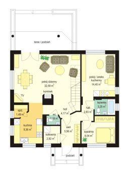 Projekt domu Na wspólnej - rzut parteru