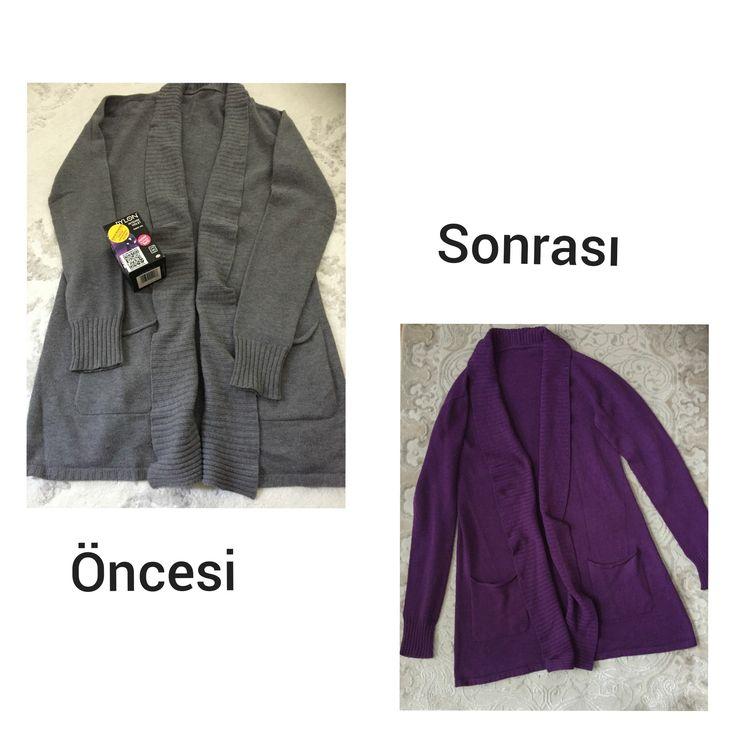 Dylon Fabric Dye With Salt - Kristal Mor /İntenseve Violet - Tuz İlaveli ..Giysi -Kumaş boyamız ile Çamaşırmakinasında rengini değiştirdiği Viskon hırkasını güle güle kullansın Raziye Hanım 😊