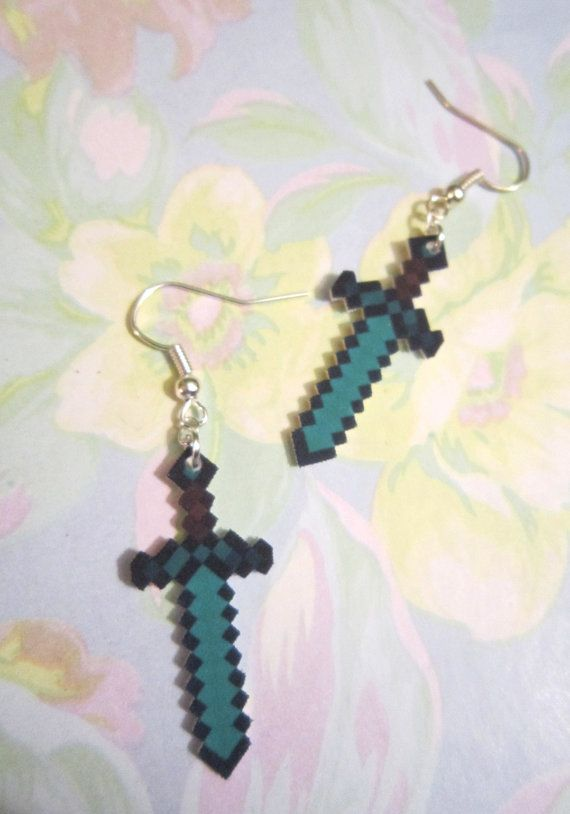 Minecraft Sword Earrings Gamer Girl Novelty by BunnieBunsShop i want these!!!