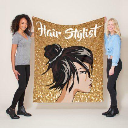 #Hair Stylist on Gold Glitter Personalized Fleece Blanket - #cosmetologist #gifts #beauty