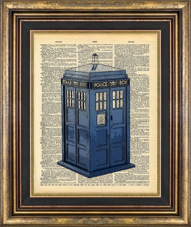 Dr Who Tardis Police Call Box Dictionary page art Book Page art Print. $9.00, via Etsy.