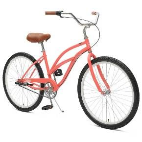 """Critical Cycles Ladies Chatham 3-speed Cruiser Bike- 26"""" - Coral"""