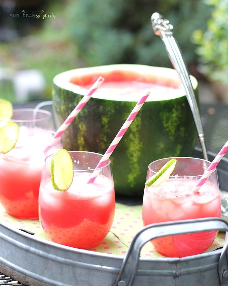 Watermelon Punch is a refreshing addition summer BBQs and get togethers! Nothing goes to waste, you turn the watermelon into a rustic serving bowl!