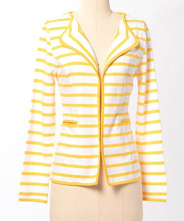 Take a look at this Lemon & White Stripe Vanishing Point Jacket by Down East Basics on #zulily today!