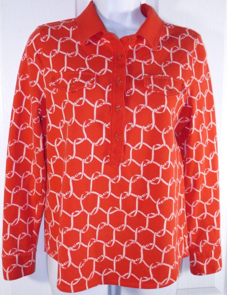 Talbots Petites Pique Print Polo Shirt Medium MP Orange Long Sleeve Equestrian #Talbots #PoloShirt