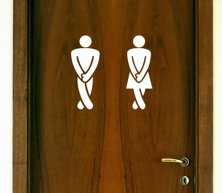 """RESTROOM DOOR DECAL SET """"Legs Crossed - Gotta Go"""" (Men / Women) Décor Sticker Vinyl - FUNNY - $2.99"""