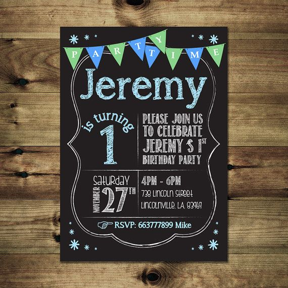 Boy 1st Birthday Invitation Bday_inv_013 by PapierMignonID on Etsy