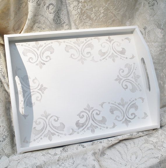 RESERVED for Michelle Hand Painted Tray, Fleur De Lis Decor, Wooden Serving…