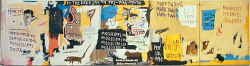 Jean-Michel Basquiat  Undiscovered Genius of the Mississippi Delta  1983  Acrylic, oil paintstick, and paper collage on canvas, five panels  48 x 184 inches  The Brant Foundation Inc., Greenwich, Connecticut  future exhibition @ MOCA #la #art