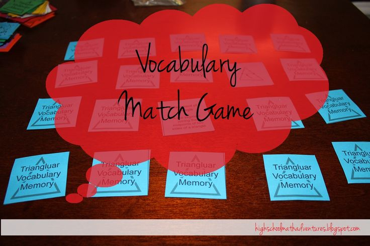 Vocab Match Game for Special Segments in Triangles- she has sets for parallel lines and angle names too