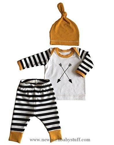 Baby Boy Clothes 3Pcs/Set Newborn Baby Girl Boy Striped Long Sleeve Tops Pant Hat Outfits Clothes #babygirllongsleeve